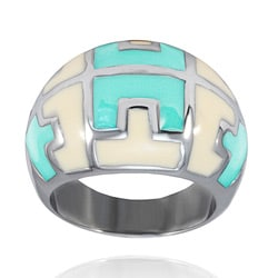 Stainless Steel Mint and Cream Enamel Pattern Ring