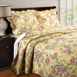 Greenland Home Fashions Yellow Butterfly Twin-size Quilt Set - Thumbnail 0