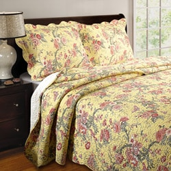 Greenland Home Fashions Yellow Butterfly King-size Quilt Set - Thumbnail 0