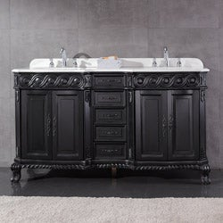 OVE Decors Tristan 60-inch Double Sink Bathroom Vanity with Marble Top