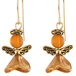 Fourteen-karat Gold Fill 'Angelically Amber' Glass and Pewter Earrings