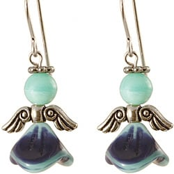 Sterling Silver 'Blue and Teal Ethereal' Angel Earrings