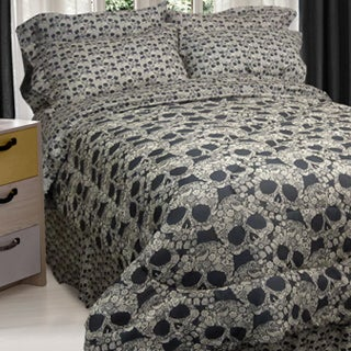 Street Revival Flower Skull 6-Piece Twin-size Bed in a Bag with Sheet Set