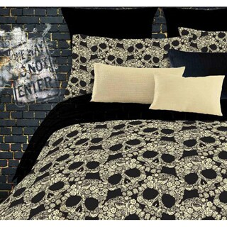 Street Revival Flower Skull Full-size 6-piece Bed in a Bag with Sheet Set