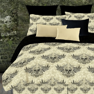 Street Revival Winged Skull 8-piece Full-size Bed in a Bag with Sheet Set