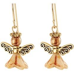 'Glorious Gold' 14k Gold Fill Glass Bead Angel Earrings