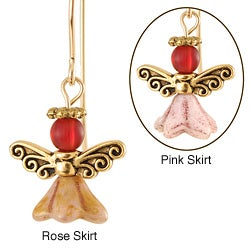 Gold Fill 'Angels of Burgundy Brilliance' Glass Earrings