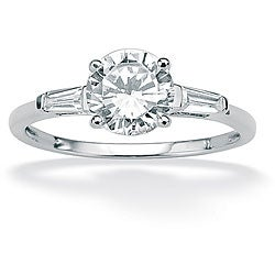 1.78 TCW Round Cubic Zirconia Anniversary Engagement Ring in 10k White Gold Classic CZ