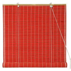 Handmade 36-inch Red Bamboo Roll Up Blinds (China)