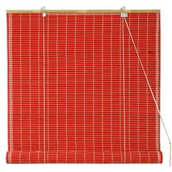 Handmade 48-inch Red Bamboo Roll Up Blinds (China)