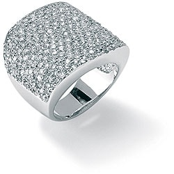 3.75 TCW Round Cubic Zirconia Platinum over Sterling Silver Pave Dome Ring Glam CZ