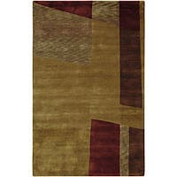 Hand-knotted Brown Contemporary Ardara Wool Abstract Area Rug - 5' x 8'