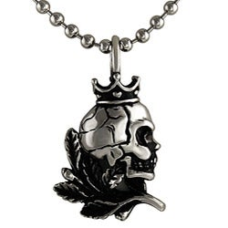 Stainless Steel Crown Skull Necklace