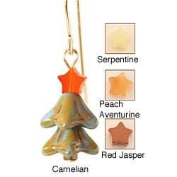 14k Gold Fill 'Festive Blue Spruce' Gemstone Christmas Tree Earrings