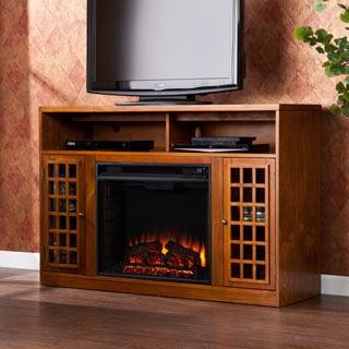 Harper Blvd Branick Glazed Pine Media Console Fireplace