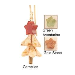 14k Gold Fill 'Festive Snow Covered' Gemstone Christmas Tree Earrings