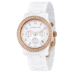Michael Kors Women's Ceramic Rose Gold Tone Ion Plated Steel Watch
