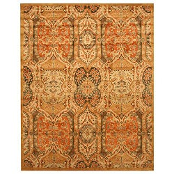 Hand-tufted Wool Gold Transitional Oriental Piazza Rug (8'9 x 11'9) - Thumbnail 0