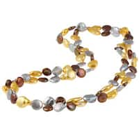 Miadora New York Pearls Multi-colored FW Pearl 48-inch Endless Necklace (9-11 mm) - Gold/White