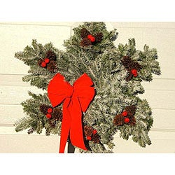 Fresh Balsam 24-inch Frosted Snowlflake Wreath