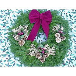 Burgundy/ Gold 24-inch Fresh Balsam Wreath