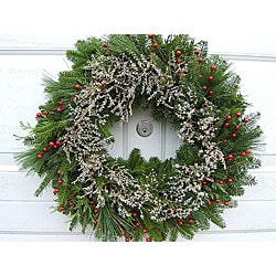 Fresh 24-inch Balsam and Dried Flower Wreath