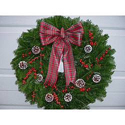 Winterberry 24-inch Fresh Balsam Wreath - Thumbnail 0