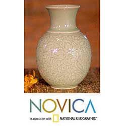 Celadon Ceramic 'Jade Landscape' Vase (Thailand)