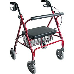 Mabis Burgundy Extra Wide Heavy Duty Steel Bariatric Rollator