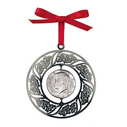 American Coin Treasures JFK Half Dollar Wreath Christmas Ornament