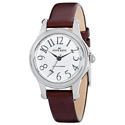 Shop anne klein women 39 s brown leather strap watch free shipping on orders over 45 5408245 for Anne klein leather strap