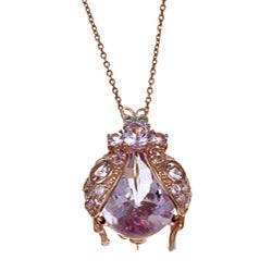 Meredith Leigh Silver Pink Gemstone and Diamond Critters Beetle Necklace
