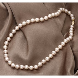 Miadora New York Pearls 14k Yellow Gold New York Pearls Champagne Akoya Pearl Necklace (8-8.5 mm)