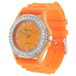 Geneva Women's 'Platinum' Rhinestone-accented Silicone Strap Watch