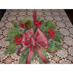 Fresh Balsam Poinsettias Holiday Centerpiece