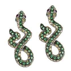 Meredith Leigh Silver Yellow Sapphire, Tsavorite and Ruby Snake Earrings