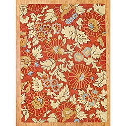 Thumbnail 1, Hand-tufted Indo Rust/ Beige Wool Rug (5' x 7').