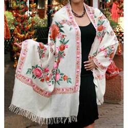 Handmade Wool 'Spring Valley' Shawl (India) - Green