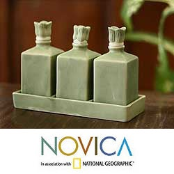 Set of 3 Ceramic 'Jade Bali Lotus' Oil Bottles (Indonesia)