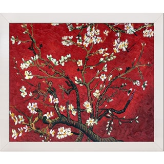 "Van Gogh 'Branches Of An Almond Tree In Blossom (Red)' 27.125"" x 23.125"" Hand-Painted Framed Canvas Art"