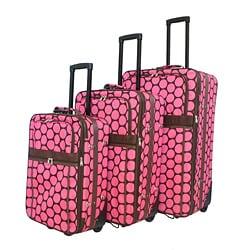 Thumbnail 1, World Traveler 3- Piece Pink Dot Expandable Luggage Set.