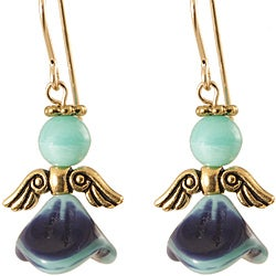 Gold Fill 'Blue and Teal Ethereal' Angel Earrings