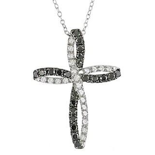 Miadora Silver 1ct TDW Black and White Diamond Cross Necklace