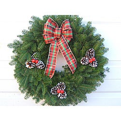 Fresh Balsam Tartan Plaid Traditional Wreath
