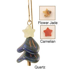 14k Gold Fill 'Brilliant Blue Spruce' Holiday Tree Earrings