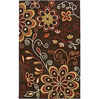 Hand-tufted Whimsy Chocolate Wool Area Rug (8' x 11')