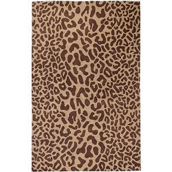 Hand-tufted Tan Leopard Whimsy Brown Animal Print Wool Area Rug (5' x 8') - 5' x 8' - Thumbnail 0