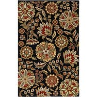 Hand-tufted Whimsy Black Wool Area Rug (5' x 8')