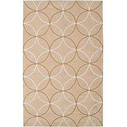 Hand-tufted Contemporary Beige Retro Chic Green Geometric Abstract Rug (5' x 8')