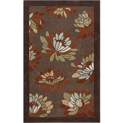 Thumbnail 1, Hand-tufted Brown Floral Rug (8' x 11').